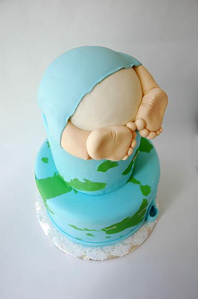 Torta para baby shower en Quito vista desde arriba